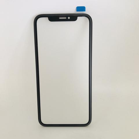 Фронтальное стекло, лицевое стекло iPhone XR с рамкой и OCA пленкой