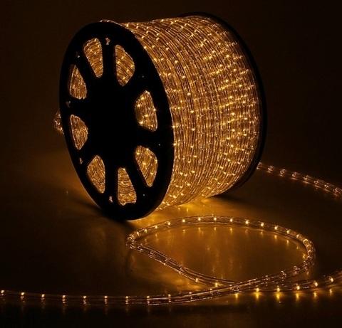Дюралайт светодиодный, трехпроводной, круглый 13 мм, Желтый, 36 LED/м, кратность резки 2 метра