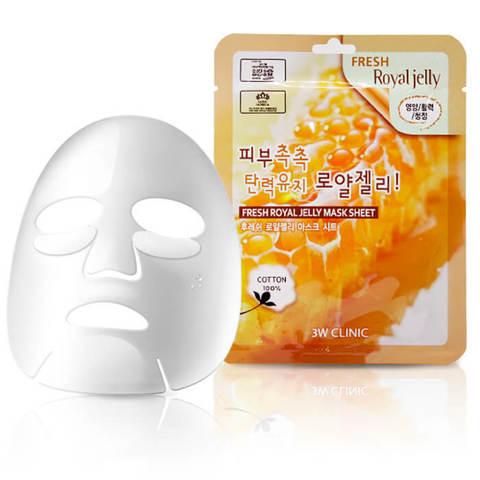 Тканевая маска для лица МАТОЧНОЕ МОЛОЧКО Fresh Royal Jelly Mask Sheet, 3W CLINIC