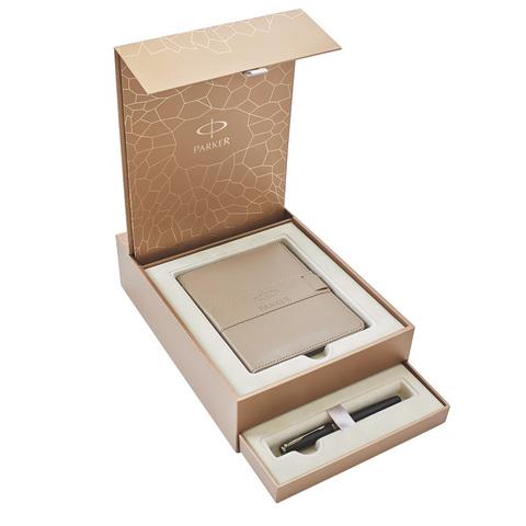 Набор подарочный Parker Sonnet - Dark Grey Laquer CT, перьевая ручка, F + записная книжка