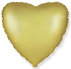 Шар сердце сатин золото