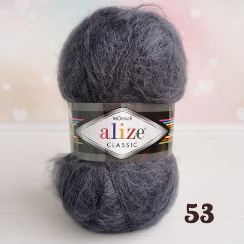 ALIZE MOHAIR CLASSIC NEW 53, Угольный серый