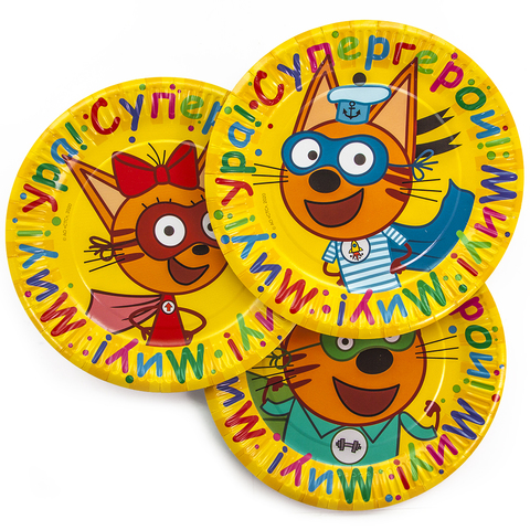 Тарелки (9''/23 см) Три Кота, Супер Герои!, Желтый, 6 шт.