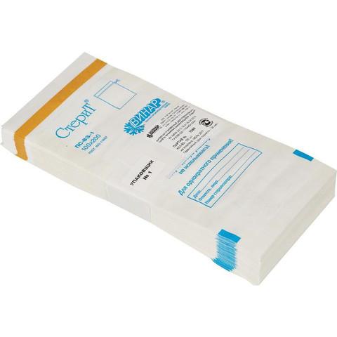 Крафт-пакеты для стерилизации (белые) бумажные, 100*200 (100шт.)