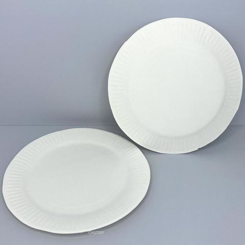 Тарелка бумажная круглая d25 см (100 шт.) белая
