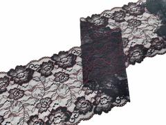 Эластичное кружево, 21 см, черное с красной кордовой нитью, (Арт: EK-2527), м