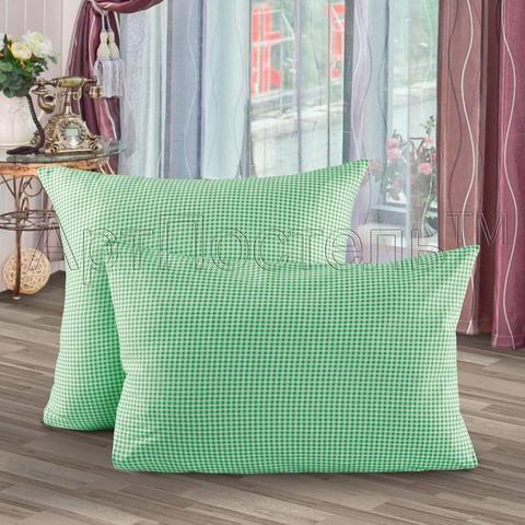 Трикотажная наволочка на молнии Клетка (зеленый)