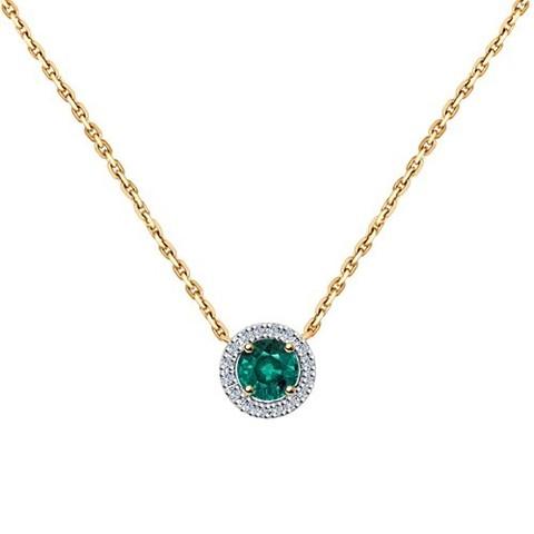 3070004 - Колье из золота с бриллиантами и изумрудом