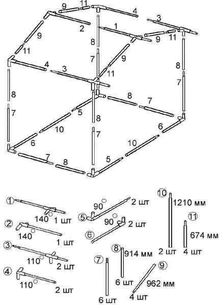 Схема сборки торговой палатки Митек Домик 3.0х2.0 Ø18 мм