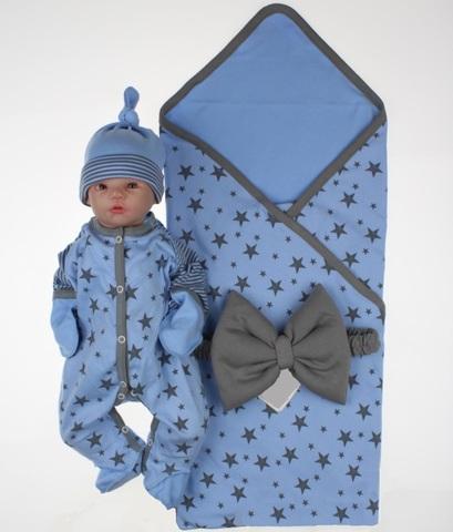 Комплект на выписку для новорожденных Лето голубой