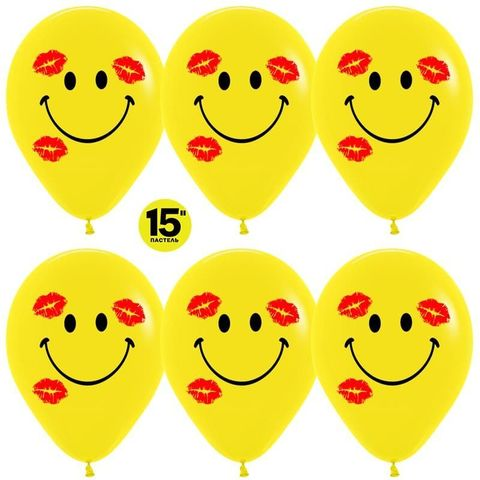 Шар (15''/38 см) Смайл в поцелуях, Желтый (020), пастель, 2 ст.