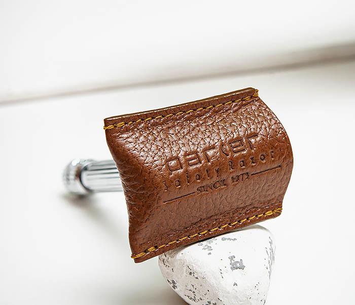 RAZ498-2 Кожаный защитный колпачок для Т образного станка «PARKER» (коричневый) фото 02