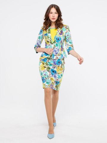 Фото прямая хлопковая юбка в цветочек и боковыми карманами - Юбка Б028-134 (1)