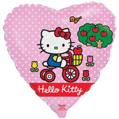 F Сердце Котенок с бантиком на велосипеде, 18''/46 см, 1 шт.