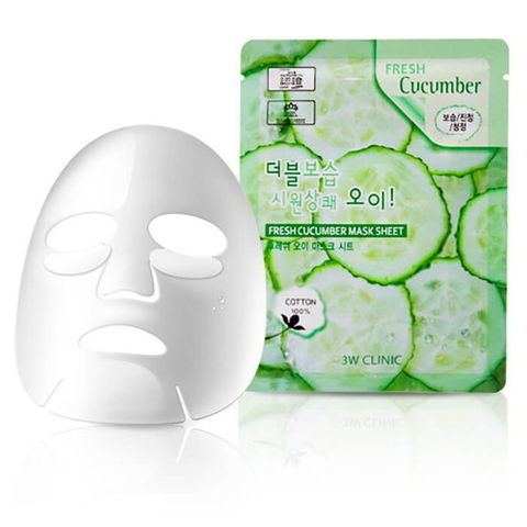 Тканевая маска для лица ОГУРЕЦ Fresh Cucumber Mask Sheet, 3W CLINIC