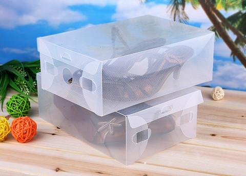 30*18*10 см пластиковая прозрачная коробка для обуви до 42 размера с откидной крышкой