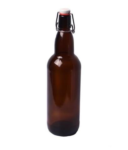 Бутылка бугельная с пробкой,коричневое стекло 1л,1х6