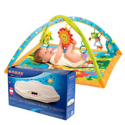 Медицинские весы Maman + Развивающий коврик Tiny Love Солнечный денек (4 нед.)