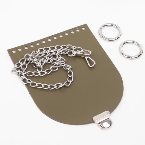 """Комплект для сумочки Орео """"Хаки"""". Цепочка и замок """"Маленький литой"""""""