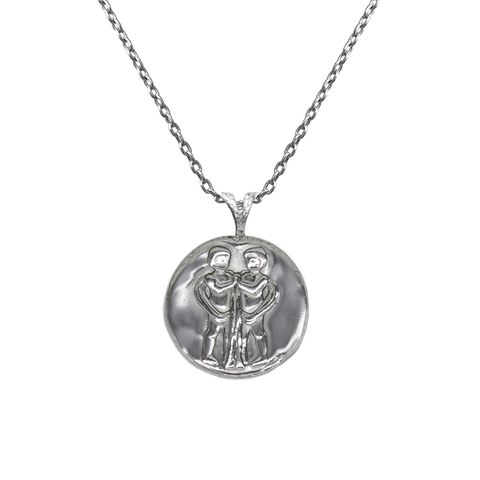 Pendant, Zodiac sign Gemini on a chain, sterling  silver