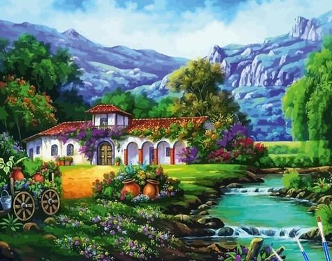 Алмазная Мозаика 40x50 Дом у речки и красочный пейзаж (арт. SGJ73576)