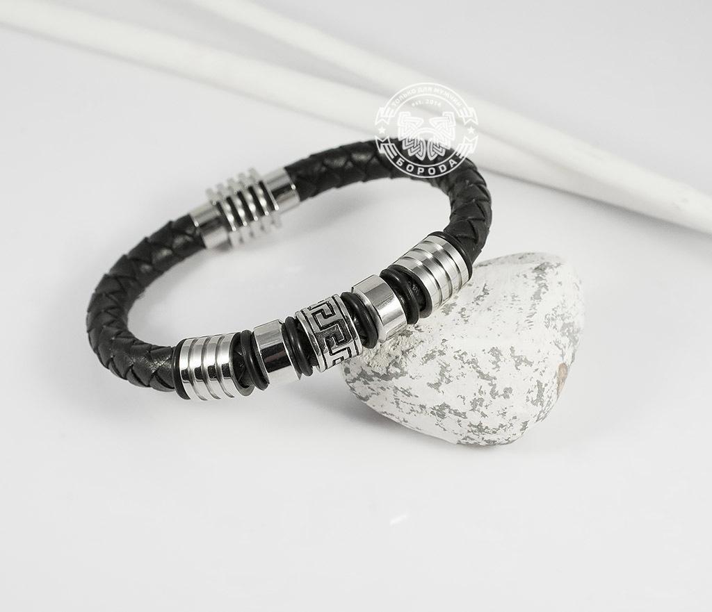BM361 Массивный мужской браслет из кожаного шнура и стали (19 см) фото 04