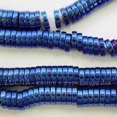 Бусина Гематит (искусств), рондель, цвет - синий с бензиновым отливом, 8х2 мм, нить