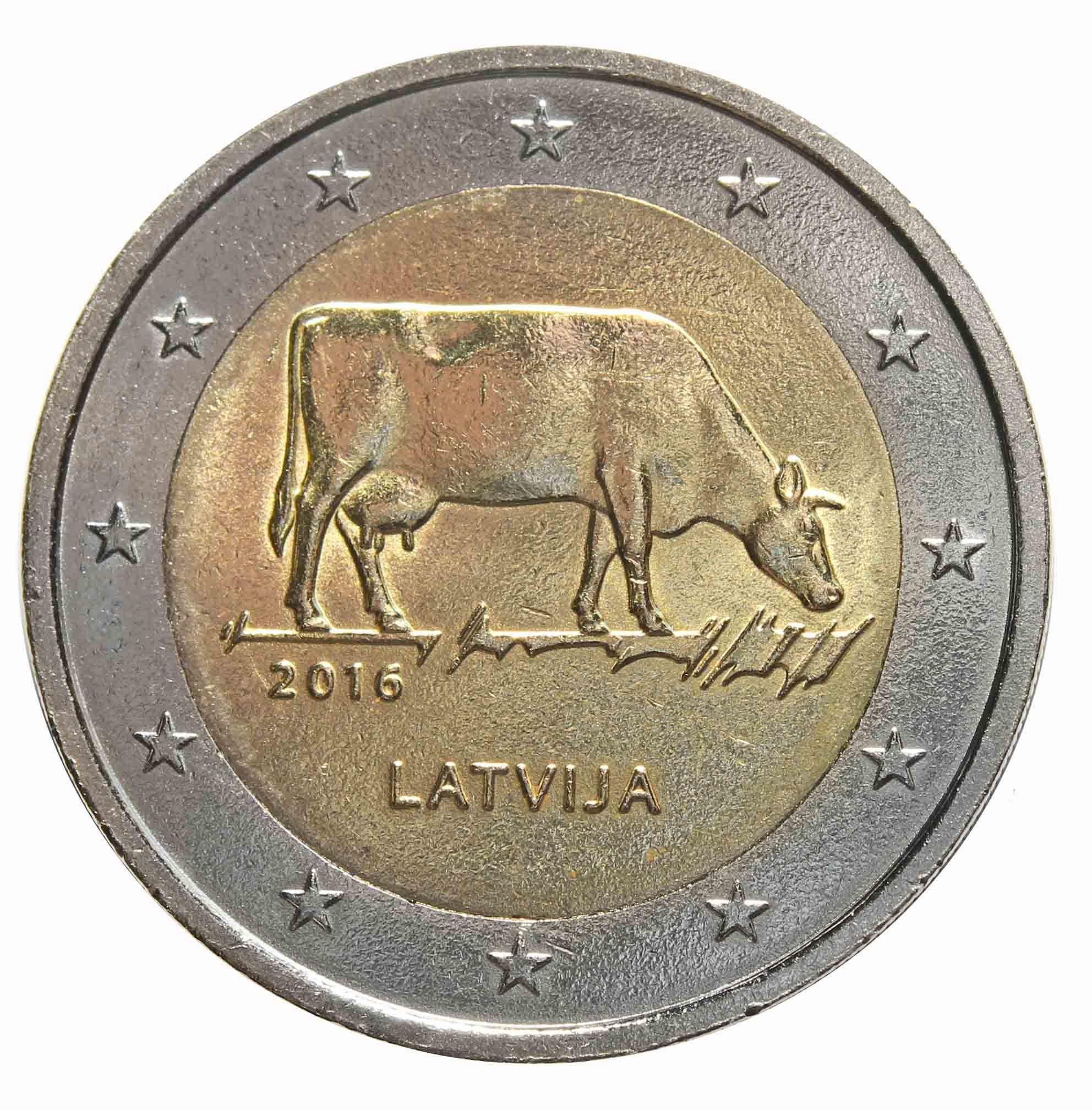 2 евро 2016 Латвия - Корова. Сельское хозяйство