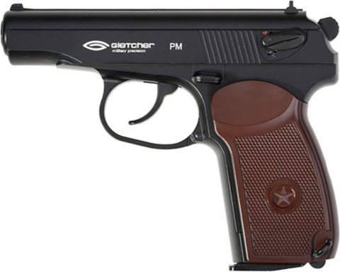 Пистолет пневматический PM (Макаров, Gletcher), металл/черный