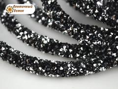 Шнур трубчатый стразовый черный с серебром 40 см