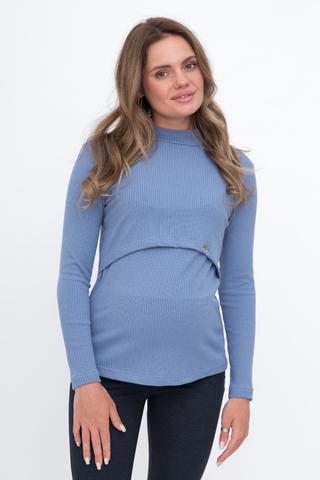 Лонгслив для беременных и кормящих 11921 темно-голубой