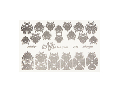 Фольга для дизайна ногтей серебро 26