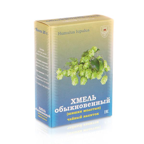 Хмель обыкновенный, шишки молотые чайный напиток, 25 г, коробочка