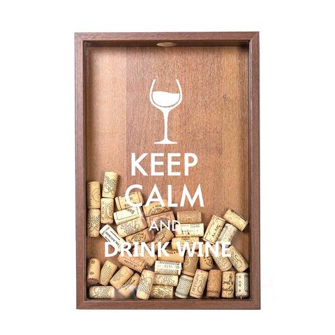 Копилка для винных пробок Keep calm (белая надпись), Орех