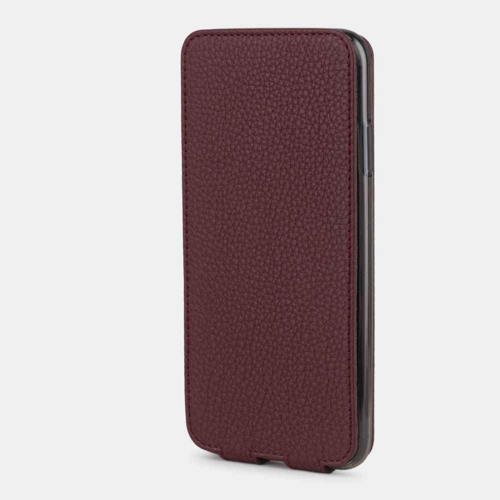 Чехол для iPhone XS Max из натуральной кожи теленка, бордового цвета