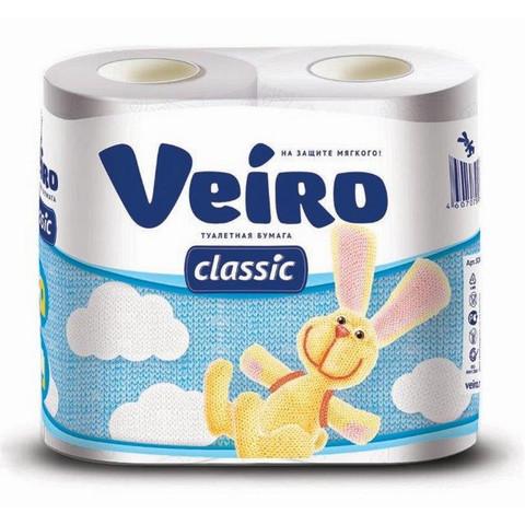 Бумага туалетная Veiro Classic 2-слойная белая (4 рулона в упаковке)