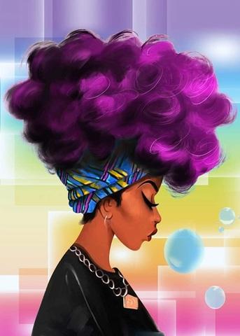Алмазная Мозаика 30x40 Девушка с фиолетовыми волосами (арт. GB75893 )