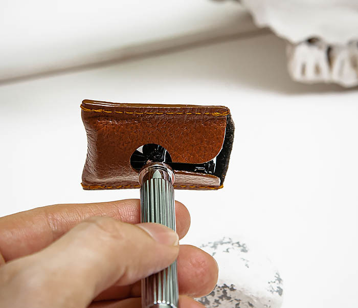 RAZ498-2 Кожаный защитный колпачок для Т образного станка «PARKER» (коричневый) фото 07