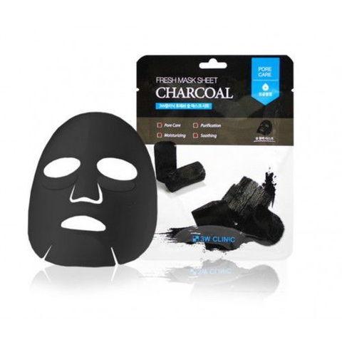 Тканевая маска для лица УГОЛЬ Fresh charcoal Mask Sheet, 3W CLINIC