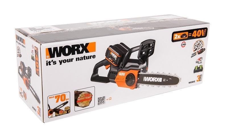 Цепная пила аккумуляторная WORX WG381E.9, 40В, 30 см, без АКБ и ЗУ