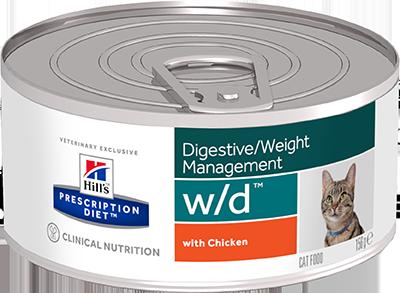 Влажные корма Ветеринарный корм для кошек Hill`s Prescription Diet w/d, для контроля веса, фарш с курицей вд.png