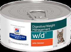 Ветеринарный корм для кошек Hill`s Prescription Diet w/d, для контроля веса, фарш с курицей