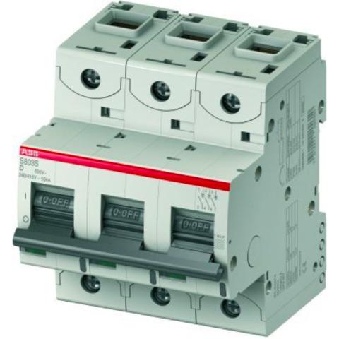 Автоматический выключатель 3-полюсный 10 А, тип D, 15 кА S803C D10. ABB. 2CCS883001R0101