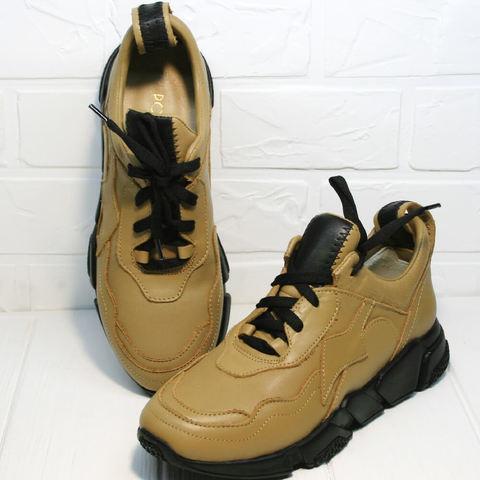 Стильные кроссовки женские. Бежевые кожаные кроссовки на осень Poletto-DB