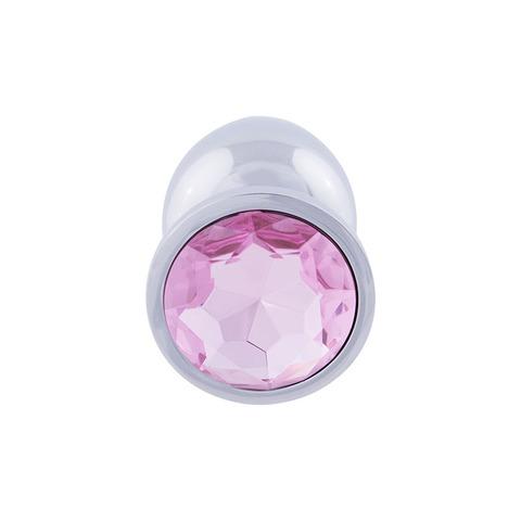 Анальная пробка с кристаллом (нежно-розовый), размер L