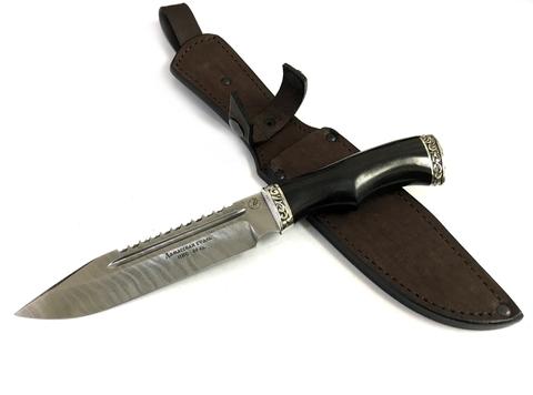Боевой нож Волк, дамасская сталь, кованый, ИП Фурсач