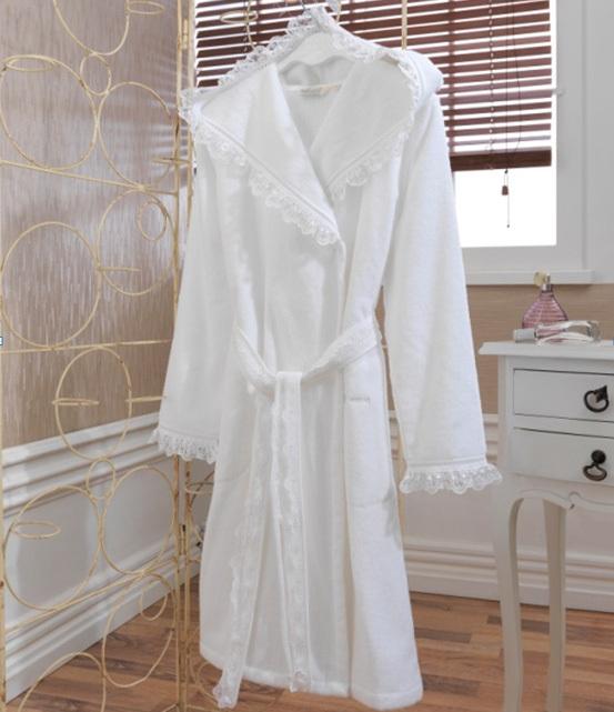 Махровые халаты LUNA- ЛУНА  Белый махровый женский халат с капюшоном Soft Cotton (Турция) LUNA.jpg