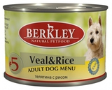 BERKLEY ADULT Veal & Rice Консервы для собак №5 Телятина с рисом 1х200 г. (75008)