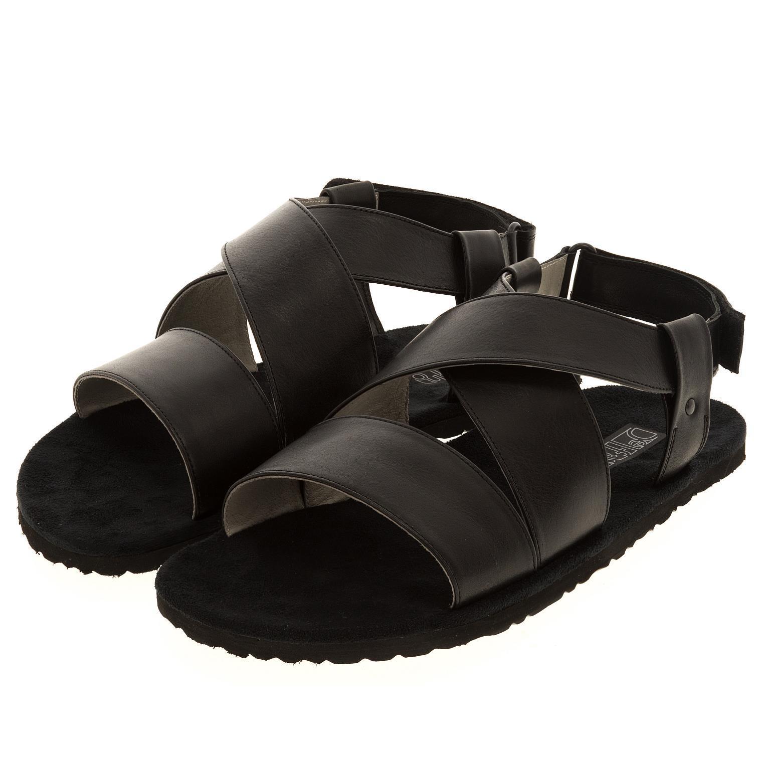 578157 сандалии мужские черные больших размеров марки Делфино