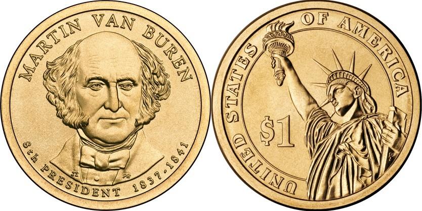 1 доллар 8-й президент США Мартин Ван Бурен 2008 год
